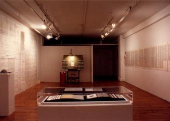 "Marc Desjardins BALZAC, BUTOR, DERRIDA, SOLLERS @ Marc Desjardins, exposition ""Balzac, Butor, Derrida, Sollers"", Galerie B-312, 1992."