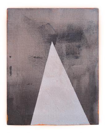 Sans titre (triangle argent, noir et orange)
