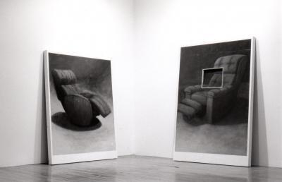 """Luc De Vette REQUIEM POUR UNE CONDITION INHUMAINE © Luc de Vette, exposition """"Requiem pour une condition inhumaine"""", Galerie B-312, 1994."""